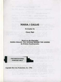 Sigal, Clancy - Maria Callas - screenplay