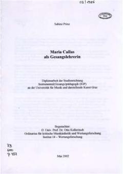 Prinz, Sabine - Maria Callas als Gesangslehrerin